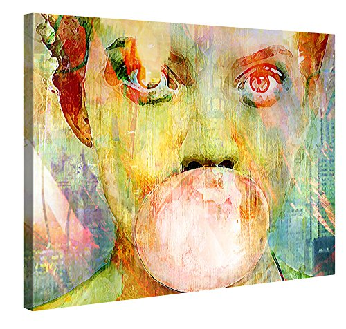 Premium Kunstdruck Wand-Bild - Bubblegum Girl - 100x75cm Leinwand-Druck in deutscher Marken-Qualität - Leinwand-Bilder auf Holz-Keilrahmen als moderne Wanddekoration