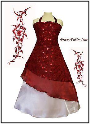 Blumenmädchenkleid ~ Festkleid ~ Jolina ~ in bordeaux-weiß  ~ mit viel Glitzer