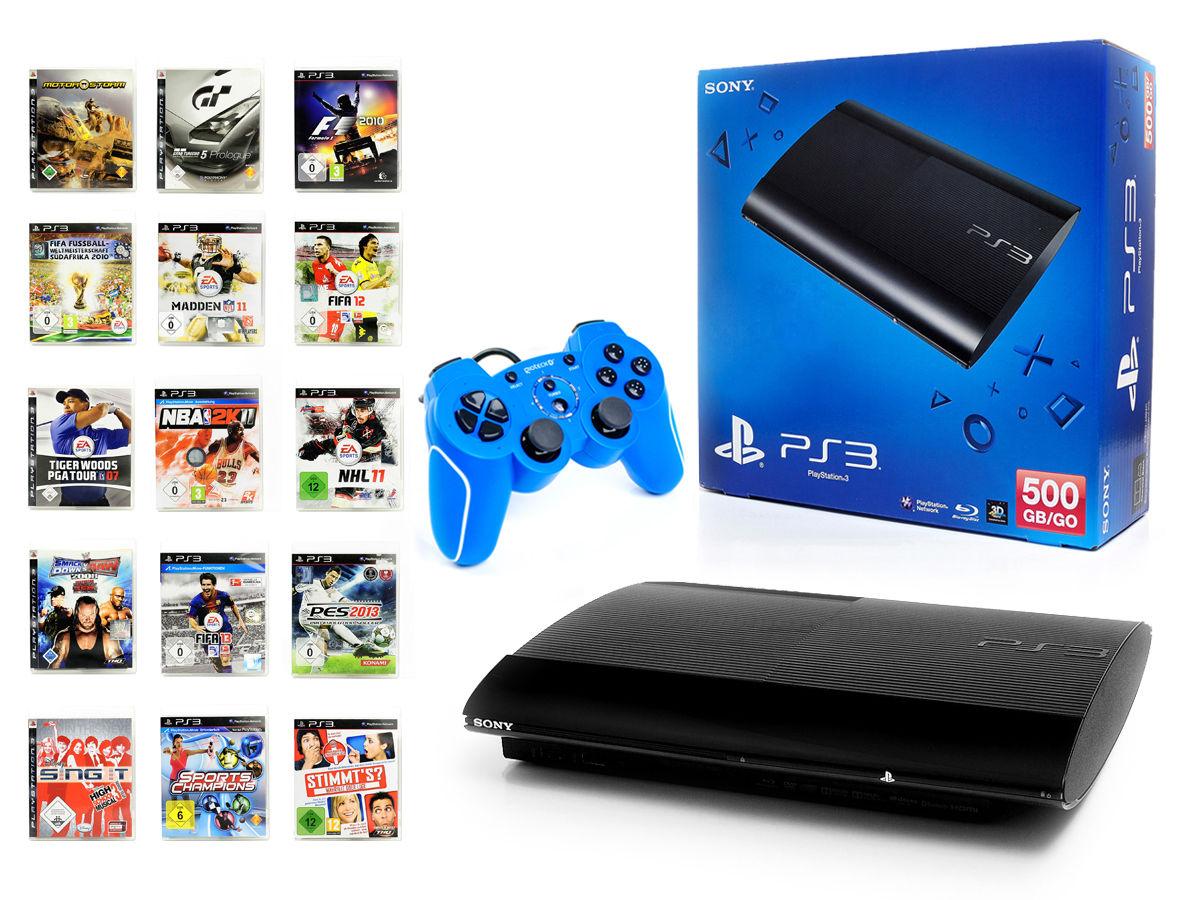 SONY PS3 Konsole 500GB SUPER SLIM+NEUEN Wired Gamepad BLAU Spielkonsole+1 Spiel