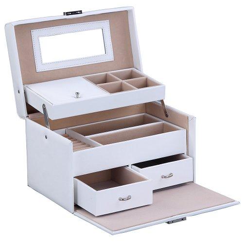 Songmics SchmuckKästchen Schmuckkoffer mit spiegel und 2 schubladen Weiß JBC122W