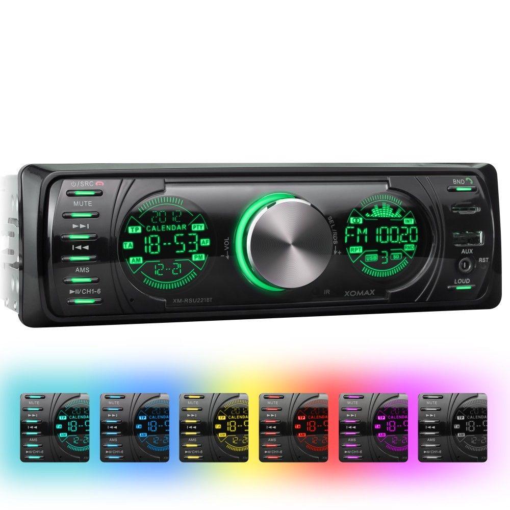 AUTORADIO MIT 7 FARBEN BLUETOOTH USB+MICRO-SD=64GB MP3 AUX 1DIN SINGLE OHNE CD