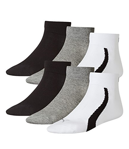 PUMA Unisex Winner Quarter Sport Socken Sportsocken 6er Pack white / grey / black 325 - 39/42