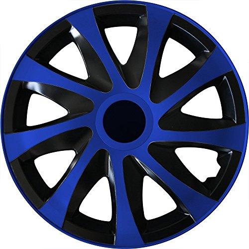 (Farbe und Größe wählbar) 14 Zoll Radkappen DRACO (Schwarz-Blau) passend für fast alle Fahrzeugtypen (universal)