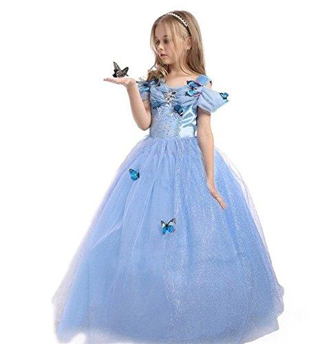 ELSA & ANNA® Mädchen Prinzessin Kleid Verrücktes Kleid Partei Kostüm Outfit DE-FBA-CNDR5 (4-5 Jahre, DE-CNDR5)