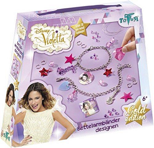 Disney Violetta Bastel-Set Bettel-Armbänder ( Kreativ-Set mit Ketten-Armbändern, Perlen und süßen Pailletten in verschiedenen Farben)