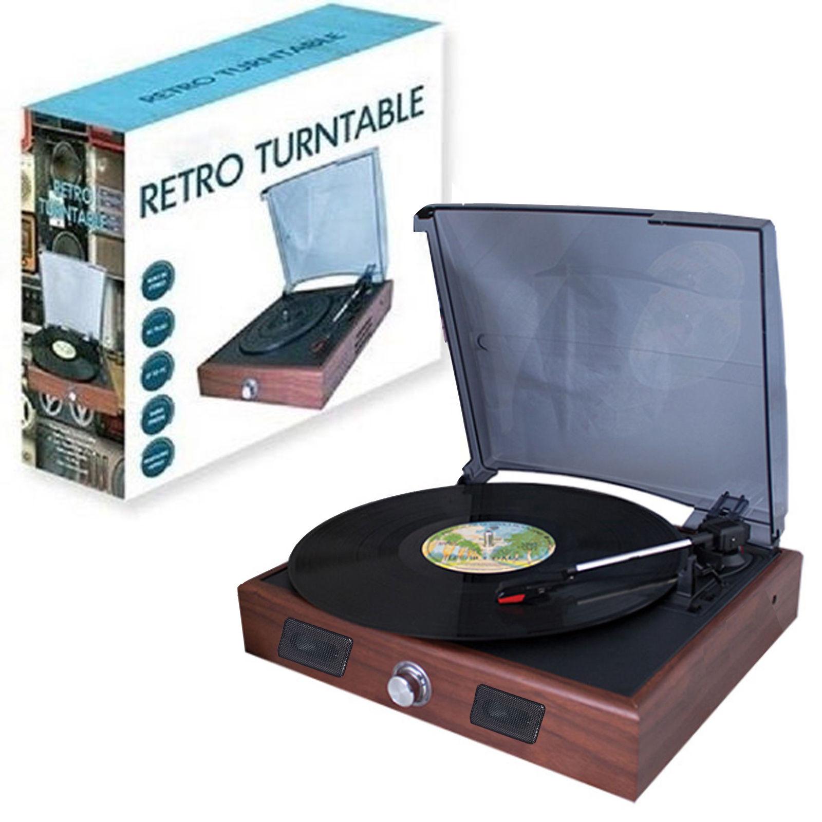 Retro 3 Speed Record Player Vinyl Turntable Built In Speakers USB To PC