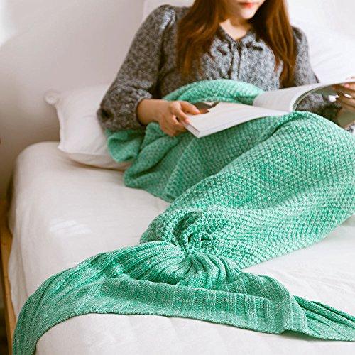 Gestrickte Meerjungfrau Schwanz Decke Erwachsene Strick Meerjungfrau Schlafsack für alle Jahreszeiten, Warme Weiche Wohnzimmer Decke 190cm × 80cm
