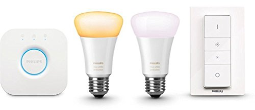 Philips Hue White Ambiance LED Lampe E27 Starter Set inkl. Dimmschalter und Bridge, alle Weißschattierungen, steuerbar via App, Standard Verpackung [Energieklasse A+]