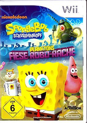 Spongebob Schwammkopf Planktons Fiese Robo-Rache Wii Spiel Neu (Action Spaß)