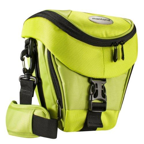 Mantona Colt Kameratasche (Universaltasche inkl. Schnellzugriff, Staubschutz, Tragegurt und Zubehörfach, geeignet für DSLR- und Systemkameras) hellgrün