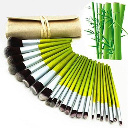 VALUE MAKERS® 23 Stück Bambus Pinsel Makers für Eyeliner Powder Foundation Concealer mit Etui