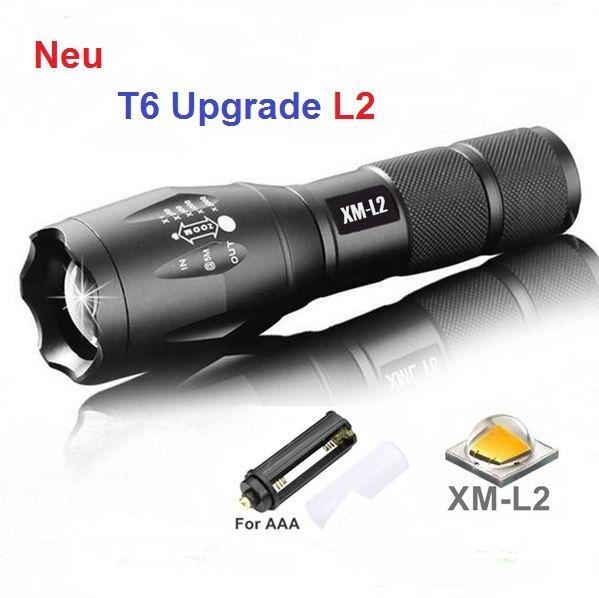 Cree XM-L2 High Power LED Taschen-lampe Zoom 3000 Lumen Neu