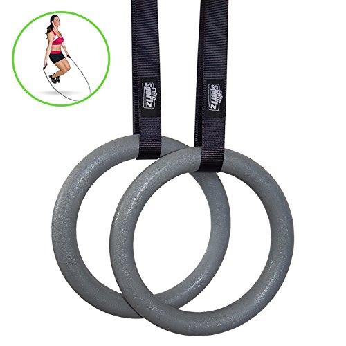 Elite Sportz Turnrings und Gymnastikring - Ringe für Fitnesstraining und Crossfit  - mit Anti-Rutsch-Schnalle - Free Jump Rope inklusive