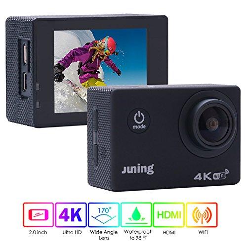 Action Kamera Wifi, Juning Ultra HD Multifunktions Sport-kamera 2 Zoll/ 1080P Pixel /170° Weitwinkel-Objektiv, Wasserfeste 30 Meter entfernt, Wifi können Ihr Telefon und Computer verbinden, Ausgestattet mit zwei Batterien