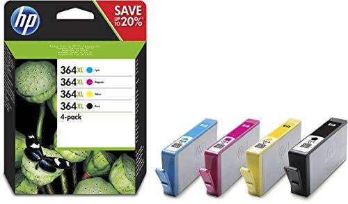 HP 364XL Multipack Original Druckerpatronen (Schwarz, Rot, Blau, Gelb) mit hoher Reichweite für HP Deskjet, HP Officejet, HP Photosmart