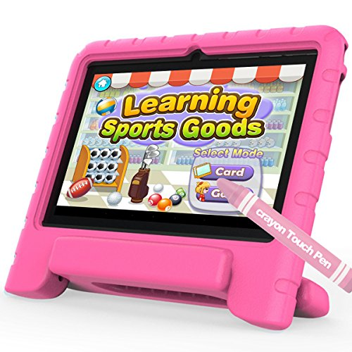 Kinder Tablet,TURNMEON KT8 7 Zoll Kids Edition 1G RAM 8G ROM IPS Bildschirm Tablet für Kinder Quad Core Android Tablet Wifi Kamera IWAWA Vorinstallierte Kindgerechte (Kids Proof Holder Case+ Stylus Pen Included) (Rosa)