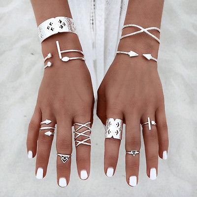 8ST Fingerring Ring Boho Fingerspitzenring Knuckle Ringe Obergelenkring Silber