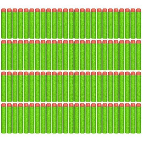 Topways® 100 Stück Foam Dart Für Nachfüll-Pack für alle NERF N-Strike Elite Blaster Darts Refill Bullet for Toy Gun (Grün)