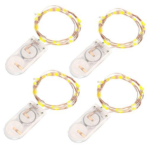 VOYOMO(TM) 4 Stück 10er LED-Lichterkette Warmweiß Weihnachtsbeleuchtung Innen Micro Draht Batterie-betrieben 3.3Ft/1M