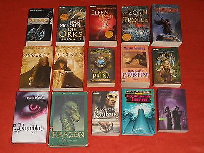 Fantasy Bücherpaket, 15 Bücher, Orks, Elfen, Trolle, Corum, Mithgar,Eragon u.v.m