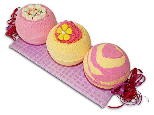 Badebombe Geschenkset - Himbeere - Grapefruit - Verwöhnset mit 3 Badekugeln