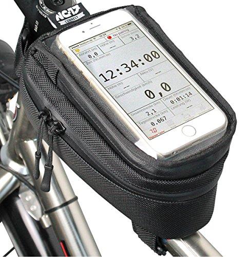 NC-17 connect Smartphonetasche Universal Oberrohrtasche mit Klettverschluss / für iPhone, Samsung Galaxy S3/S4/S5 bzw. max 8,5cm x 15cm (Universal-Handy-Tasche mit Staufach, 19.0 x 10.2 x 10.0 cm, mit Kabeldurchlass)