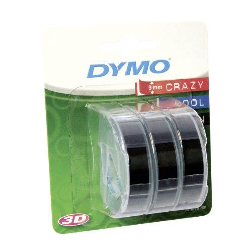Dymo S0847730 Vinyl-Prägeetiketten (Rolle 9mm x 3m, weißer Druck auf schwarzem Untergrund, selbstklebend) 3er-Pack