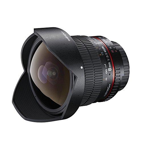 Walimex Pro 8 mm 1:3,5 DSLR Fish-Eye II Objektiv für Canon EF-S Objektivbajonett schwarz (mit abnehmbarer Gegenlichtblende)
