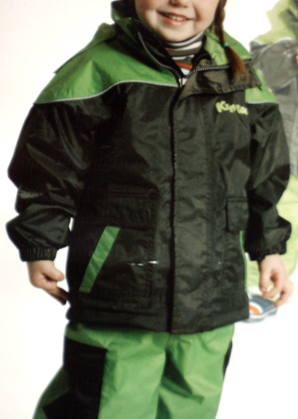 coole KINDER REGENJACKE*Gr.92*warmes Fleece Innenfutter*oliv/grüntöne *NEU*