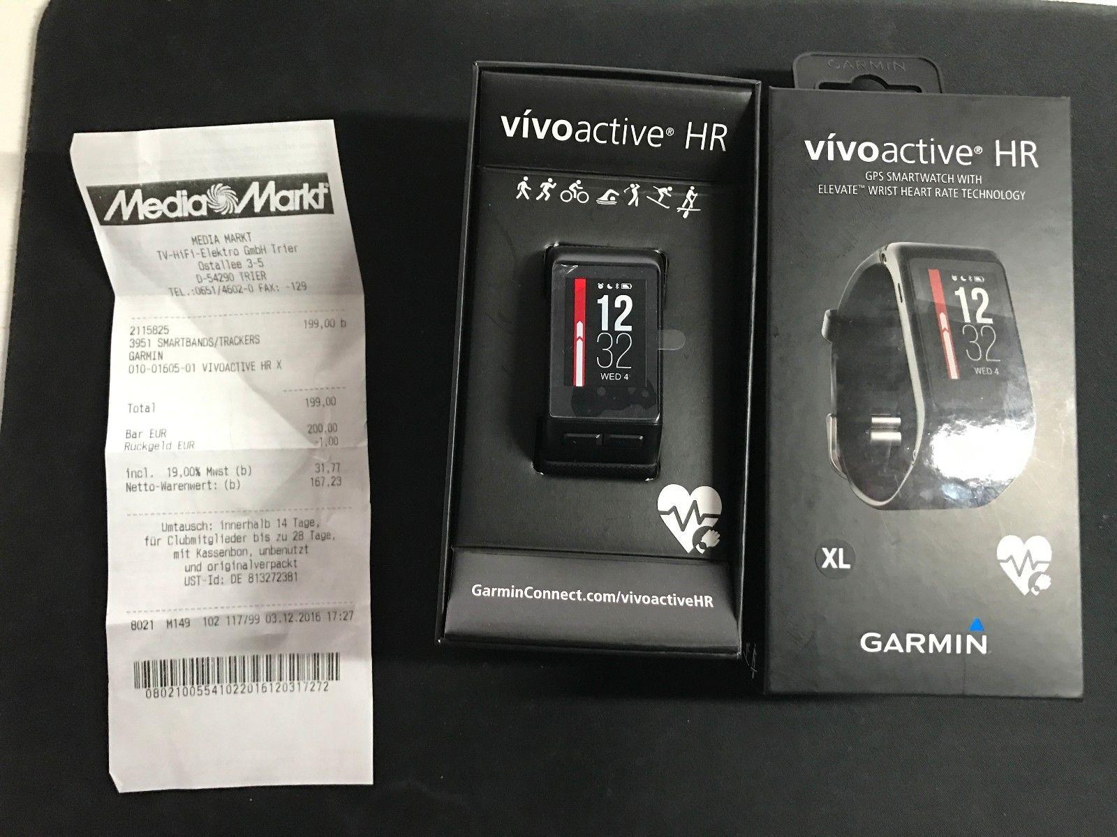 GARMIN VIVOACTIVE HR Schwarz,GPS Sportuhr mit Smartwatchfunktionen XL