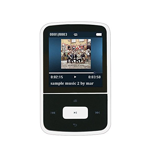 Bluetooth MP3 Player 8GB Mini Clip MP3 Tragbare Musik Player mit FM 24 Stunden Wiedergabe, von AGPTek G05W, Weiss