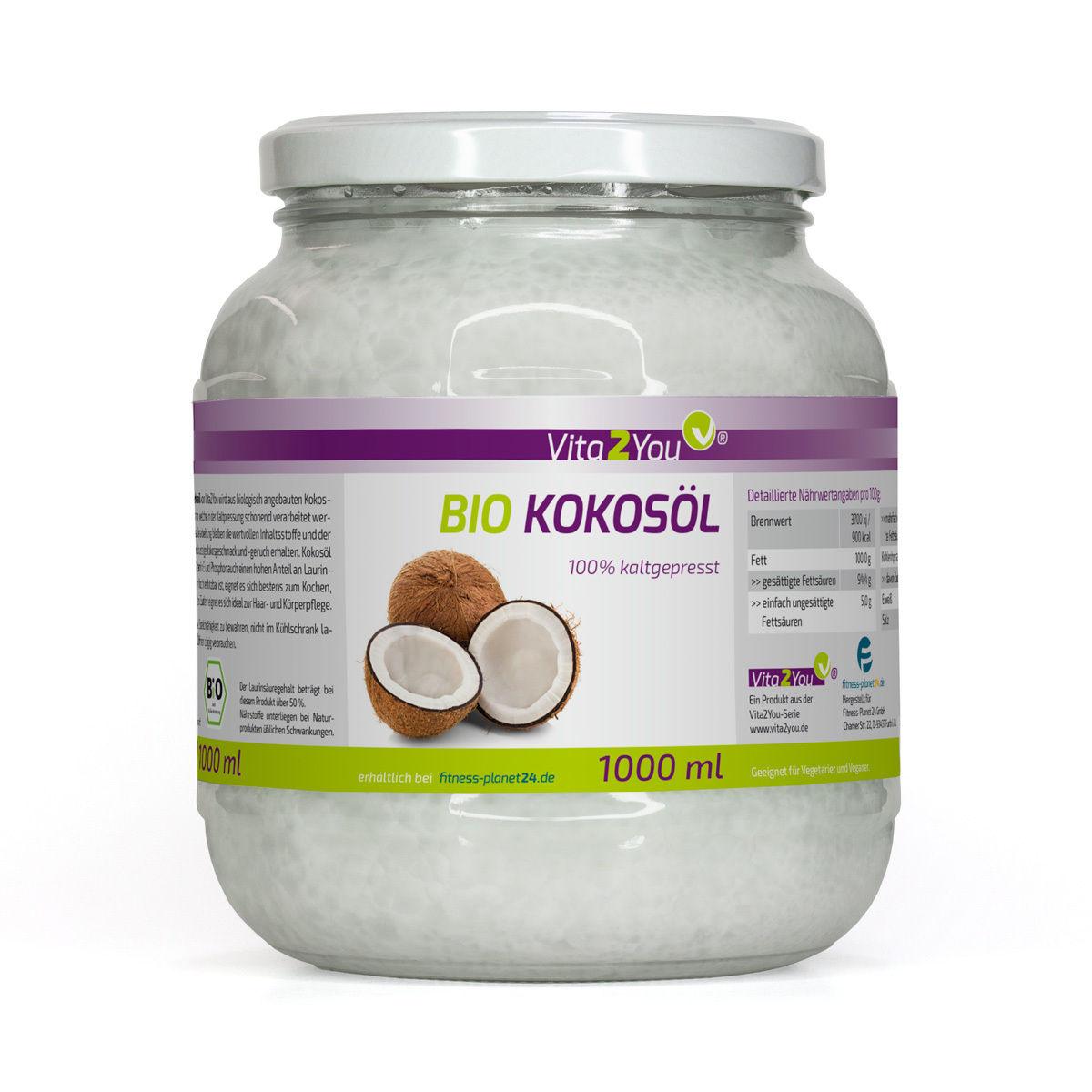 Vita2You BIO Kokosöl 1000ml - Kaltgepresst und Naturbelassen - Premium Qualität