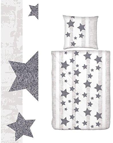 Aminata Bettwäsche Sterne Grau Biber 135x200 Cm Hellgrau Streifen