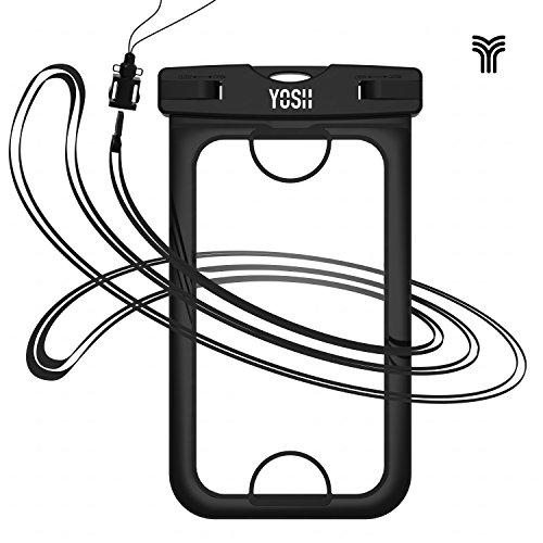 [IPhone 7 Fingerabdruck entriegeln] Wasserdichte hülle tasche beutel handyhülle YOSH® für iPhone 7 6 6s Plus 5 5s Samsung Xiaomi Huawei LG, bis zu 6 Zoll. Für Geld Reisepass ?LEBENSLANGE GARANTIE?(Schwarz)