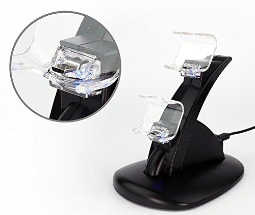 MyGadget© Playstation 4 Zubehör - Duo Horizontalständer für 2x PS4 Controller/Kontroller mit LED Leuchten Auf-Ladestation Ladegerät Ständer Halterung Docking-Station Dock in Schwarz