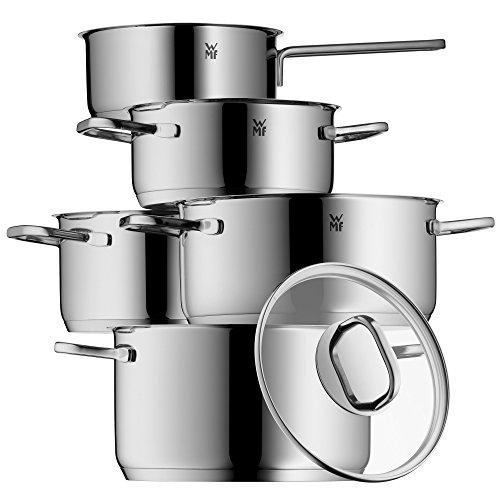 WMF Topf-Set 5-teilig Intension Schüttrand Glasdeckel Cromargan® Edelstahl poliert induktionsgeeignet spülmaschinengeeignet