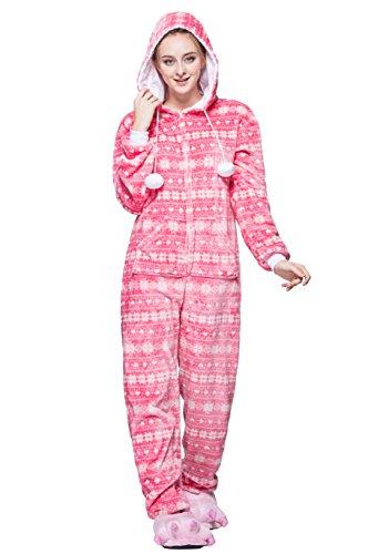 Honeystore Unisex Erwachsene Weihnachten Halloween Fasching Carnival Rosa Schneeflocke Pajamas Pyjamas Schlafanzug Kostüme Jumpsuit Kleidung M