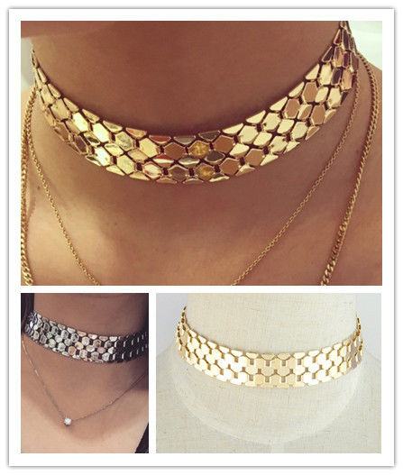 STATEMENT METAL CHAIN LINK WIDE SILVER GOLD TONE CHOKER NECKLACE UK SELLER