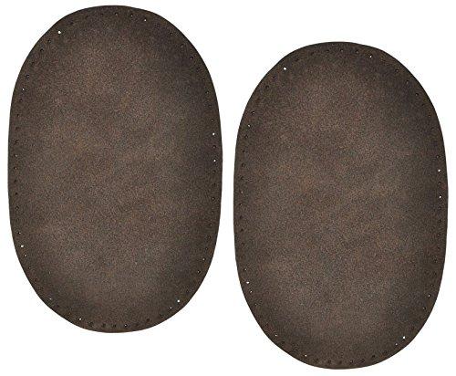 2 Stk. Wildleder - echtes Leder - Flicken - dunkel braun - 10 cm * 15,5 cm - oval - zum Aufnähen Aufnäher / Applikation XL Format