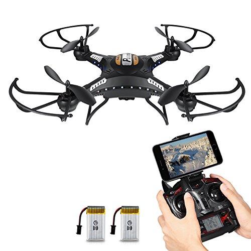 RC Quadrocopter?Potensic F183 WIFI FPV Drohne mit 2MP HD Kamera 2.4G 4CH 6-Achsen-Gyro mit 360 Grad Umstülpen und Schweben Funktion-Schwarz