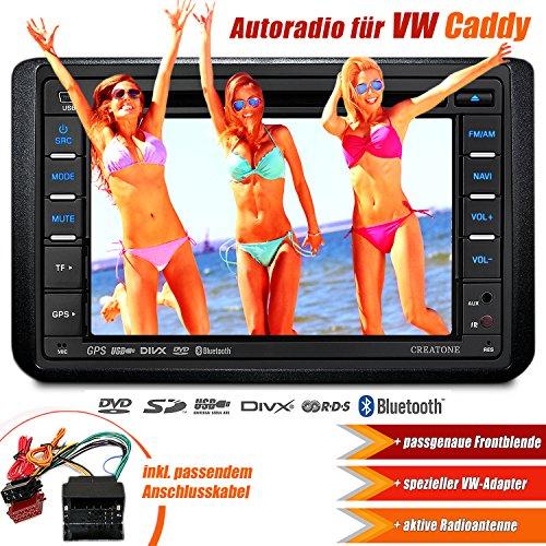 2DIN Autoradio CREATONE CTN-8173D26 für VW Caddy (2003 - 2015) mit Navigation GPS, Bluetooth, Touchscreen, DVD-Player und USB/SD-Funktion
