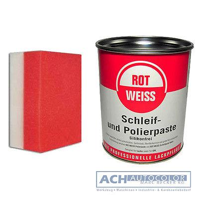 Rotweiss Schleif und Polierpaste +Handpolierschwamm Politur 750ml Schleifpaste