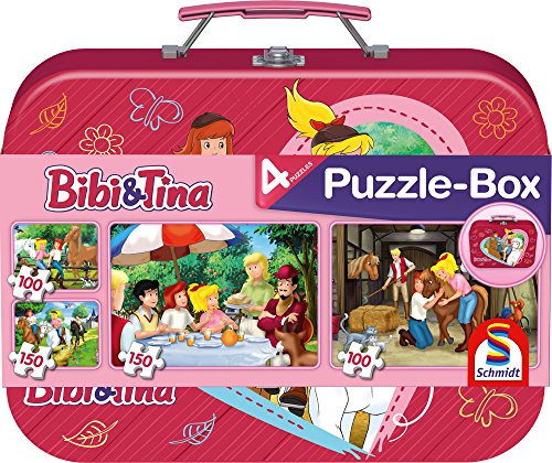 Schmidt Spiele Puzzle 56509 - Bibi und Tina, Im Metallkoffer, 2 x 100 und 2 x 150 Teile