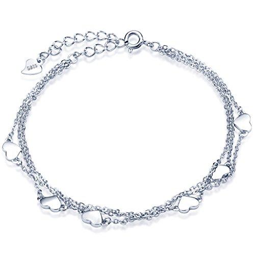 Unendlich U Klassisch Herzen Damen Strangarmbänder 925 Sterling Silber Armkette Verstellbar Charm-Armband Armkettchen Armreif, Silber