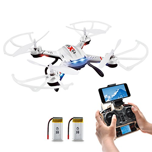 Quadrocopter Potensic Drohne Wifi 2.4GHz 6-Achsen-Gyro 2 MP HD Kamera FPV Monitor Video Live 3D Flip Funktion-weiss
