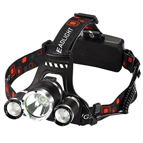 Litom USB Wiederaufladbare Superhelle LED Stirnlampe, LED Kopflampe, LED Kopfleuchten, 4 Helligkeiten zu wahlen, wasserdicht LED Stirnlampen, Batterie betriebene LED Headlight für Laufen, Höhlenforschung, Joggen, Camping, Wandern usw (2 x 18650 Lithium-Io
