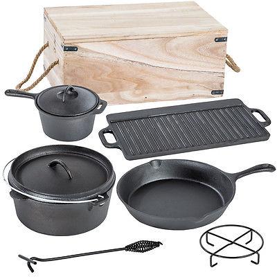 7 teiliges Dutch Oven Kochtopf Set aus Gusseisen in Holzkiste Pfanne Kessel