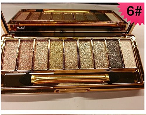 Augenschminke 9 Farben Wasserdicht Glitter Lidschatten Eyeshadow Palette mit Pinsel Style 6