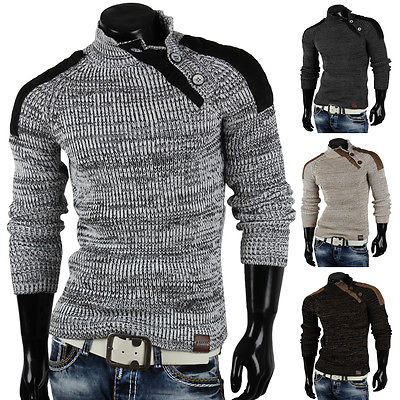 TAZZIO Herren Pullover 85246 Grobstrick Pulli Sweatshirt Strickjacke Jacke Neu
