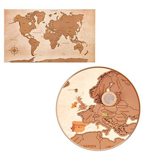 Weltkarte zum Freirubbeln im XXL Design - deutschsprachig mit Ländern und Hauptstädten - personalisierte Weltkarte für Weltenbummler und Globetrotter - Maße: 88 cm x 52 cm